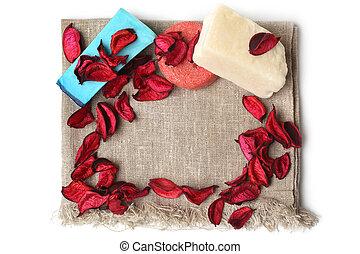 secos, banheiro, lona, tecido, composição, pétalas, spa, sabonetes, vermelho