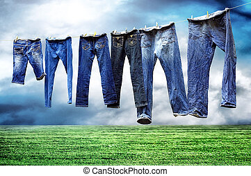 secos, calças brim, varal