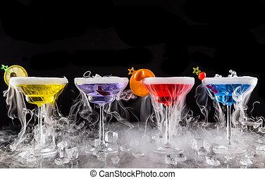 secos, efeito, gelo, fumaça, martini, bebidas