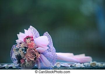 secos, flores, buquet, mentindo, ligado, madeira, tabela, com, experiência blurry