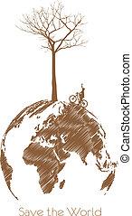 secos, globo, salvar, árvore, terra