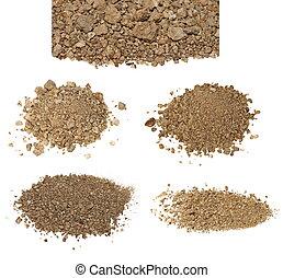 secos, jogo, sujeira, isolado, pilha, branca