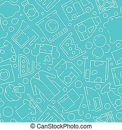secos, lavando, sapatos, serviço, manchas, pattern., seamless, máquina, artigos vestuário, vetorial, limpeza, fundo, lavanderia, roupas
