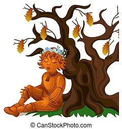 secos, menino, close-up, illustration., sentando, madeira, carvalho, isolado, experiência., traje, vetorial, estátua, étnico, russo, branca, caricatura