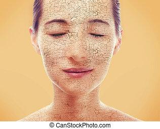 secos, retrato, mulher, pele