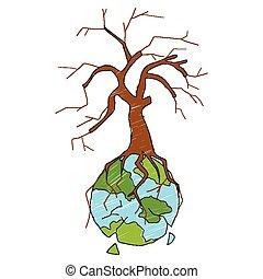 secos, terra, mostrando, distruction, árvore
