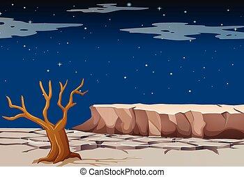 secos, terra, natureza, tempo, cena, noturna