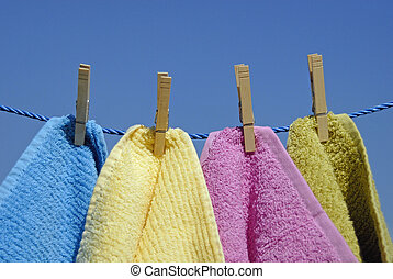secos, toalhas, saída