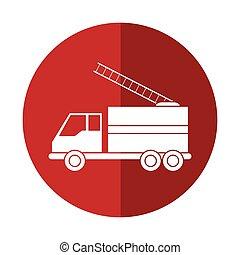 secours, brûler, attention, camion, urgence, cercle, rouges