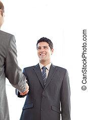 secousse, après, enchanté, leur, hommes affaires, mains, réunion