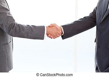 secousse, après, haut, leur, hommes affaires, mains, fin, réunion