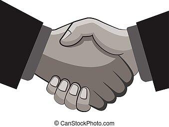 secousse, connexion, duper, mains affaires