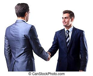 secousse, deux, isolé, homme affaires, blanc, mains