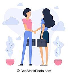 secousse, femmes affaires, mains
