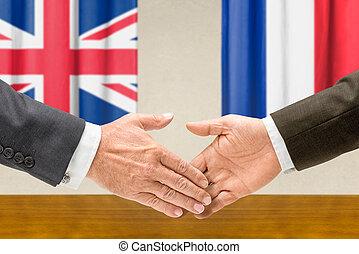 secousse, france, représentants, royaume-uni, mains