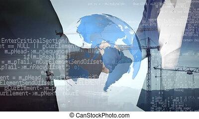 secousse, grues, hommes affaires, mains, fond, programme, codes, globe