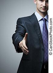 secousse, homme affaires, étendre, main