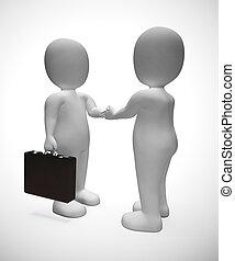 secousse, hommes affaires, accord, mains, -, affaire, 3d, illustration, ou