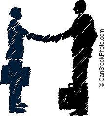 secousse, hommes affaires, business-, mains