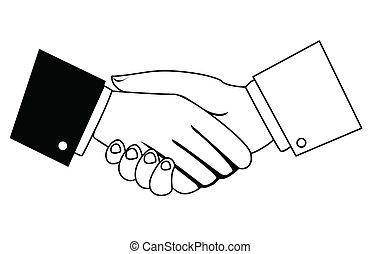 secousse, hommes affaires, mains