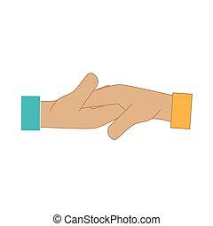 secousse main, affaire, icône