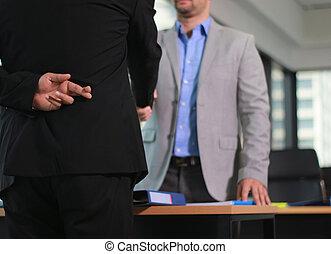 secousse, mensonge, main, homme, signe, business