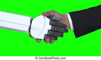 secousses, vert, haut, screen., him., salue, mains, fin, type, robot