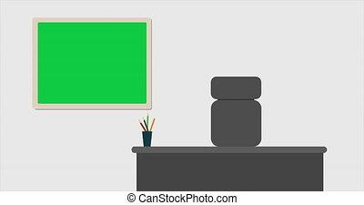 secrétaire, lieu travail, blackboard., animation, sourire, vert