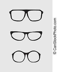 secrétaire, vecteur, ensemble, lunettes