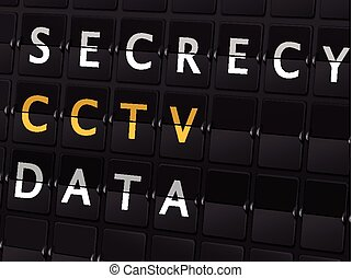 secrecy CCTV data words on airport board