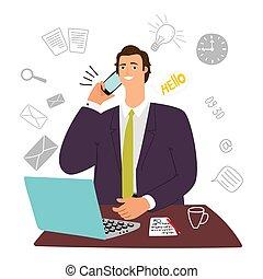 secretária, assistente, laptop, telefone, homem negócios, sujeito, gerente