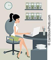 secretária, em, escritório