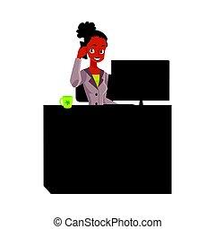 secretária, escritório, falando, americano, executiva, telefone, gerente, africano, pretas