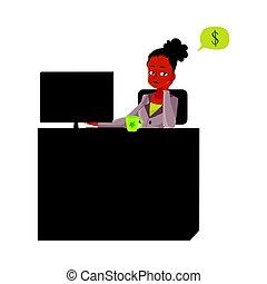secretária, escritório, sentando, pensando, dinheiro, jovem, executiva, escrivaninha