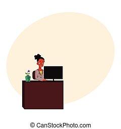 secretária, escritório, trabalhando, executiva, americano, computador, africano, pretas