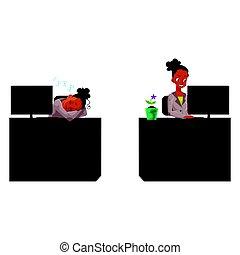 secretária, escritório, trabalhando, executiva, dormir, computador, africano, pretas