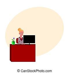 secretária, escritório, trabalhando, jovem, executiva, computador, bonito, tabela