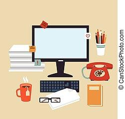 secretária, ilustração, escrivaninha