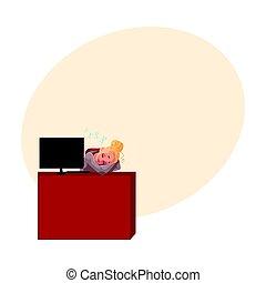 secretária, loura, escritório, cochilando, jovem, executiva, dormir, bonito, escrivaninha