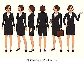 secretária, mulher, caricatura, personagem, frente, costas, e, vista lateral, de, executiva