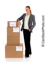 secretária, postal, pacote