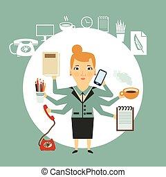 secretária, trabalhos, difícil, ilustração