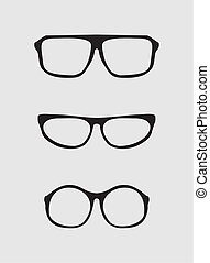 secretária, vetorial, jogo, óculos