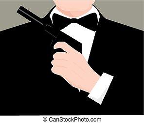 Secret agent - A james bond-like image of a man in a suit...
