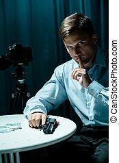 Secret agent and surveillance - Image of secret agent and...