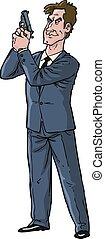 Secret Agent - Cartoon secret agent with gun vector...