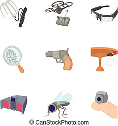Secret agent equipment icons set, cartoon style