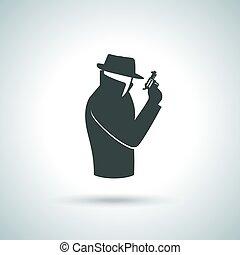 Secret agent icon - Secret service agent. Man in suit with...