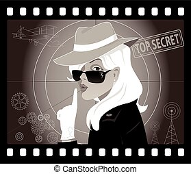 Secret Agent Lady - Mystery woman in an old movie frame,...