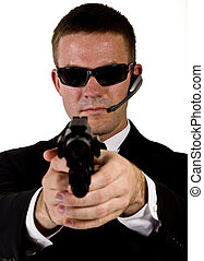 Secret Agent Pointing a Gun
